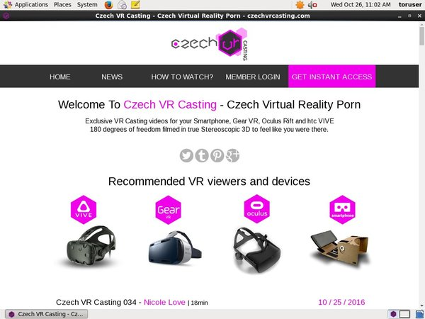 Czechvrcasting.com With European Credit Card